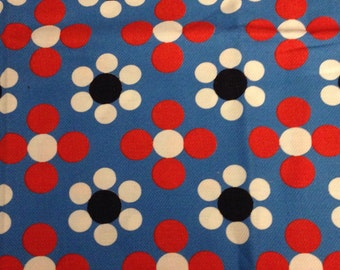 1960s Vintage Fabric - Red White on Blue - Polka Dots - Cotton Fabric - Fabric Remnant