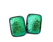 Large Earrings, Green Dichroic Glass Earrings, Fused Glass Earrings, Green Earrings, Large Hypo-Allergenic Post Earrings