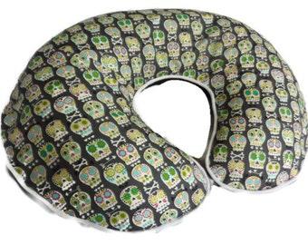 Bonehead Skulls in Grey Nursing Pillow Cover - fits Boppy pillow