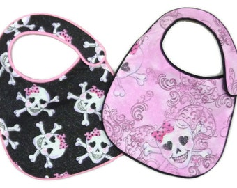 Baby Girl Bibs Girly Skulls with Pink Bows and Sparkles - set of 2 bibs