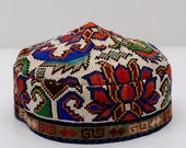 FOR Sale Very beautiful Uzbek, Turkmen, Afghan, hat, cap, silk handmade embroidery, skullcap, header, bonnet, muslims, woman, suzani hat