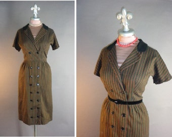 50s dress 1950s vintage JD STRIPE red black olive green golld striped smart hourglass dress
