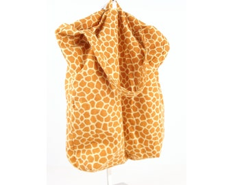 Reversible Shopping Tote in Giraffe Print, Designer Fabric, Triple Reinforced