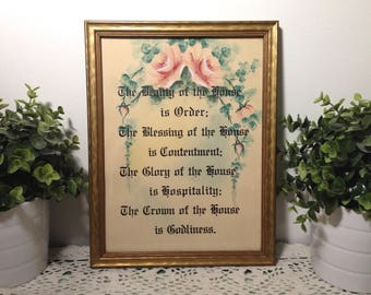 vintage framed House Blessing, 'The Beauty of the House is Order' verse. Pink Roses on tan, black script lettering. Shabby cottage decor