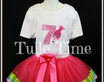 Poppy Trolls number birthday top ribbon trim trimmed tutu dress size 12m 18m 2t 3t 4t 5t 6 7/8