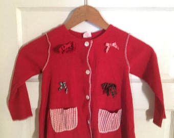 Adorable 4T Red Top by Buster Brown. Vintage Childrens Clothes. Vintage Childrens Fashions. Red Long Sleeved Shirt. Cute School Shirt.