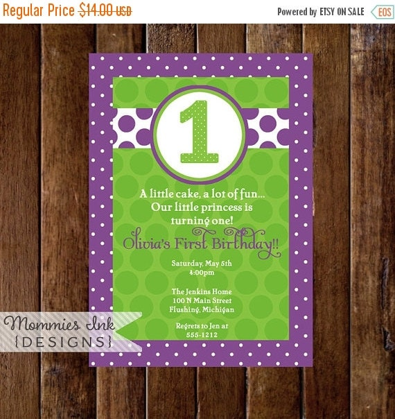 10% OFF SALE Purple and Green Bright and Polka Dotty Birthday Invitation, Polka Dot First Birthday Invite, Polka Dot Invitation, First Bday