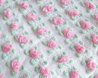 "Morgan Jones Vintage Chenille Pink Rosebud Fabric 18"" x 24"""