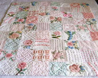 "Custom Made - ""Pink Roses Bouquet"" Vintage Chenille Quilt / Throw - Boutique quality handmade vintage chenille large throw."