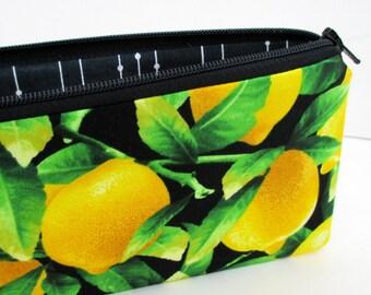 Long Zippered Pencil Pouch, Fresh Lemon Tree, Citrus Fruit on Black. Zipper Bag