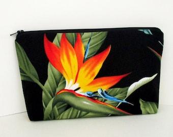 Zippered Make Up Bag, Hawaiian Bird of Paradise, Tropical Cosmetic Zipper Pouch