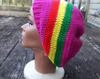 Pink Rasta slouch beanie hat