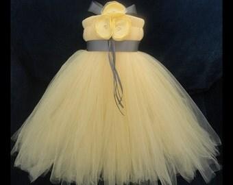 Yellow Flower Girl Dress, Little Girls, Toddler Girls, Baby Girls, Flowergirl Dress, Tutu Dress, Flower Sash