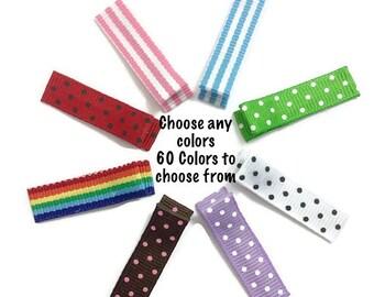 10 MINI SINGLE Prong Alligator Clips No-Slip You Choose Colors - Swiss Dots, Stripes Ribbon Lined Alligator Clips