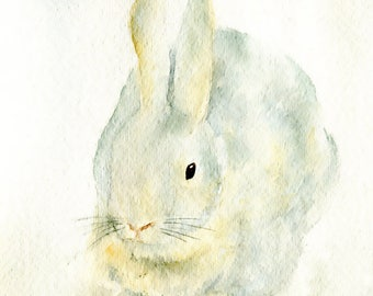 Original 5 x 7 Watercolor Painting of a American Chinchilla Bunny Rabbit