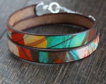 Men's Multicolor Leather Wrap Bracelet, Sterling Silver Clasp