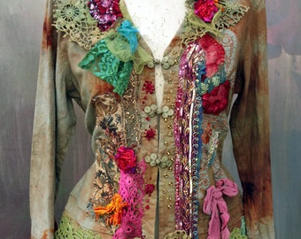 Summer Fair  jacket - ornate festive jacket, bohemian romantic,  altered couture, embroidered and beaded details