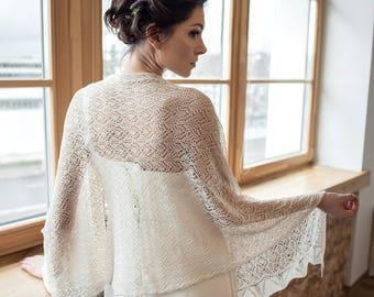 Silk wedding shawl, pearl color wrap, silk lace shawl,bridal knitted wrap, shawl for wedding, silk lace wrap, bridal shawl, wedding wrap
