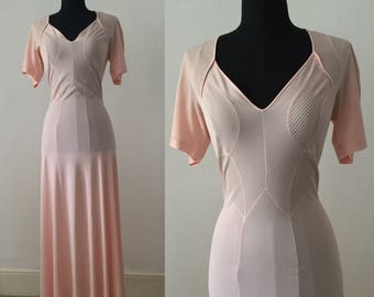 1930s Parisian Pink Deco Dress   Nightdress Gown by Helios   S Long   Original Vintage