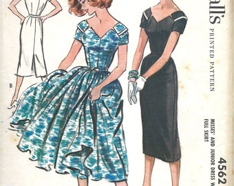 Late 1950's Dress with Wide V Neckline , Short Sleeves  and Slim or Full Skirt , McCall's No. 4562 Flirty Summer Dress , Bust 33