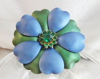 FALL SALE Vintage Flower Brooch. Blue Green Enamel Flower Power Pin. Green Rhinestone Flower Brooch.