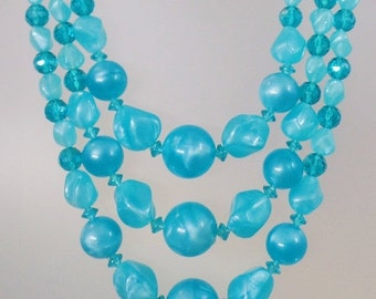 CHRISTMAS SALE Vintage Aqua Blue Three Strand Lucite Necklace.  Turquoise Marbled Lucite Bead Necklace.