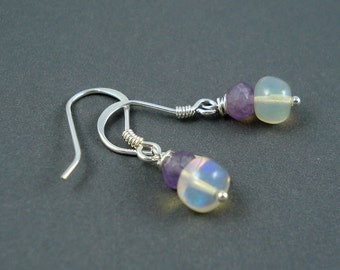 Opal Earrings, Petite Ethiopian Fire Opals and Amethyst on Sterling Silver French Wires, Double Rondelles ON SALE