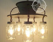 Mason Jar Light Farmhouse CHANDELIER Exclusive 5-Light - Country Island Kitchen Pendant Basket Lighting Fixture Original Design by LampGoods
