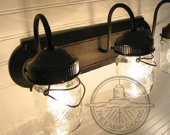 MASON JAR LIGHT Vintage Pint Bathroom Wall Sconce - Flush Mount Lighting Fixture of Mason Jar Ceiling Kitchen Farmhouse Rustic by LampGoods