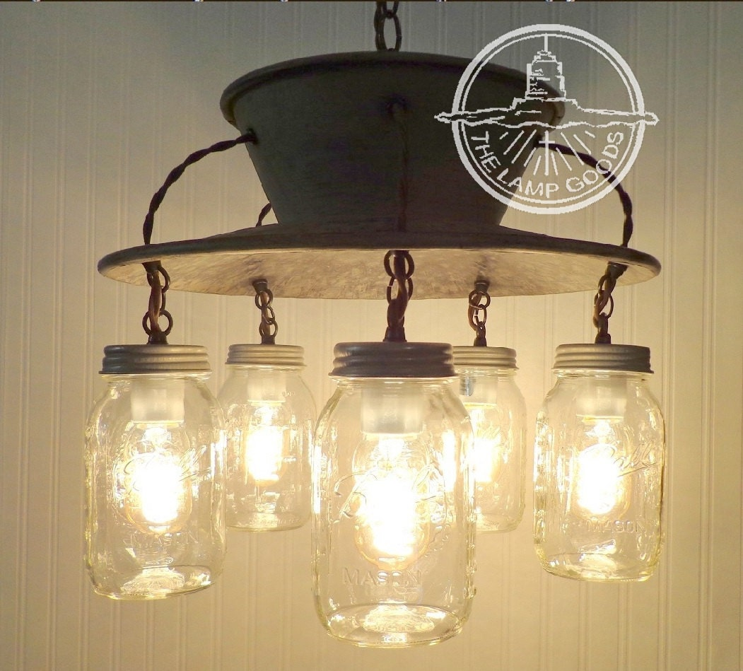 Pendant Lighting By Rustic State Authentic Vintage Lights: Mason Jar Light Farmhouse CHANDELIER Exclusive 5-Light