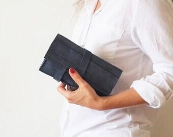 SALE Blue  wallet - leather women wallet