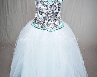 Size 6XL White corset with Black Damask design and teal burlesque corset prom dress full length - READY TO SHIP