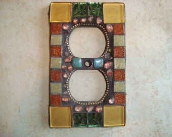 MOSAIC Electrical Outlet COVER , Wall Plate, Wall Art, Gold, Green, Beige, Rusty