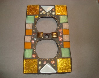 MOSAIC Electrical Outlet COVER , Wall Plate, Wall Art, Gold, Green, Beige, White