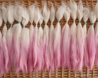 Suri Alpaca 8 in white / pink ombre pretty combed Doll Hair - Blythe Doll Hair ,  Art Dolls, spinning and felt