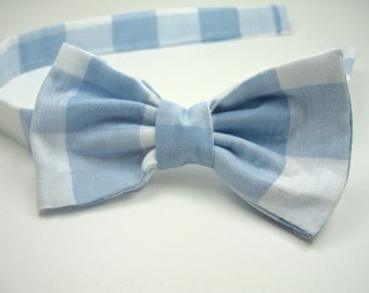 Blue Bow Ties Blue Bow Ties Blue Gingham Bow Ties Mens Bow Ties Boys Bow Ties Wedding Bow Ties