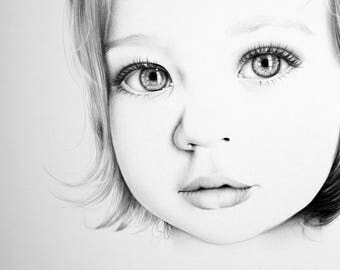 Child Custom Portrait Fine Art Drawing Commission by Ileana Hunter