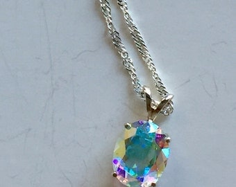 Opalescent Topaz 10x8mm 3.50ct Sterling Silver Pendant Necklace