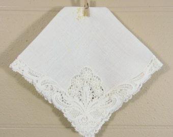 Vintage Beaded Lace Wedding Hankie / Beaded Wedding Hankie / Fancy Wedding Hankie