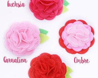 Flower for Dog Collar- Felt Flower- Red, Pink, Hot Pink, Fuchsia- Valentines Dog Collar