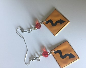 Winding Road Sign, Road Sign Earrings, Road Sign Dangles, Road sign Earrings, Road sign Dangles, Road jewelry, Road Sign Jewelry