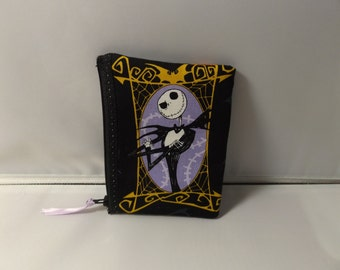 Nightmare Before Christmas  Fabric Coin Purse / Pouch- Handmade Jack Skellington - OOAK
