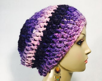 Pink and Purple Slouch Hat