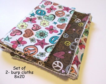Handmade set of two (2) pieces | Cotton fabric | Baby burp cloths | Peace & Love | Hearts |Its a girl | Ready to ship!