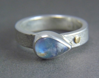 Leaf Embossed Rainbow Moonstone Ring in Sterling Silver and 14k Gold - Clear Day Ring - Handmade Artisan Jewelry Ohio Alternative Engagement