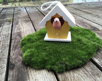 Mini Yellow Birdhouse with bird, 18 in doll scale