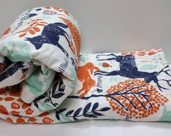 Baby Quilt-Baby Quilts-Woodland Animals Crib Bedding-Orange-Mint-Navy Blue Nursery-Baby Shower-Blanket-Deer-Fox-Bunny Rabbit Baby Blanket