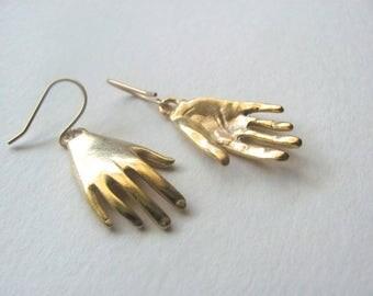 Gold hand pendant drop earrings, 18k gold plated hand charms on 14k gold plate fixtures, hand charm dangle earrings
