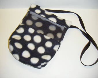 Sugar Glider, Bonding Pouch, Black Fleece, Dot Fleece, Zipper Closure, Ventilation Screen, Small Animal Pouch, Suggie Tote, CooperStudios