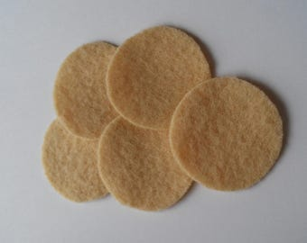 """50 1&1/2"""" BUTTER Wool penny rug circles"""